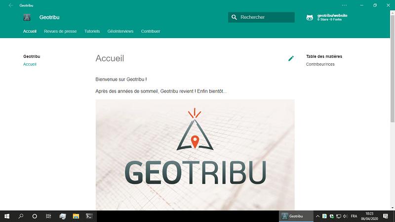 Geotribu lancé comme une appli Windows 10