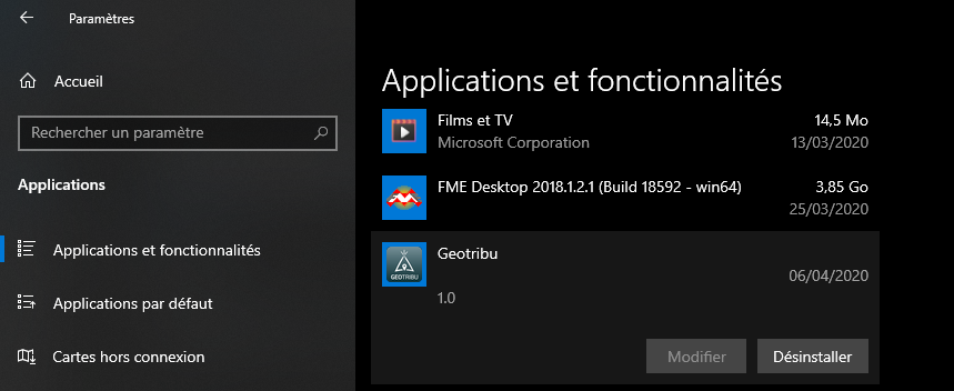 Désinstaller Geotribu de Windows 10
