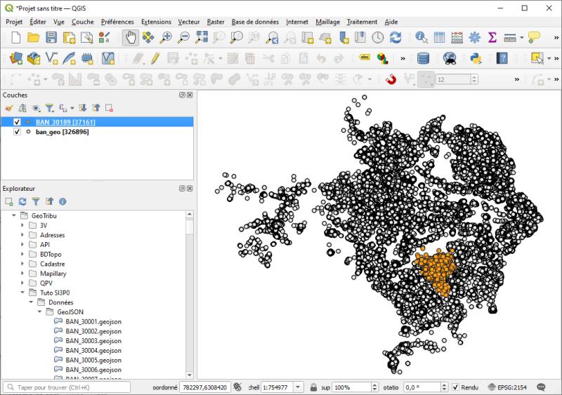 Visualisation du résultat d'exécution du script sous QGIS