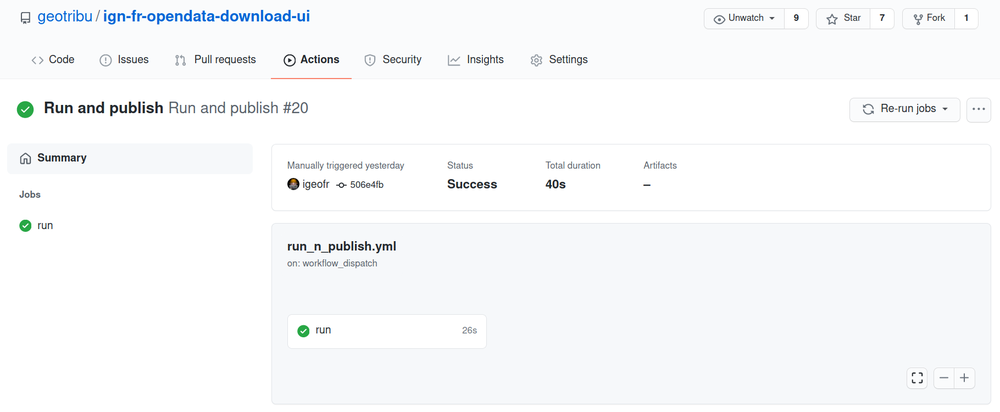 Github workflow result