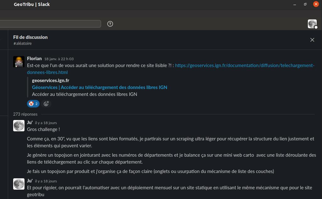 Slack GeoTribu