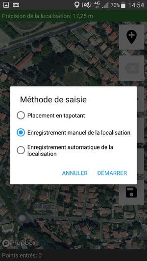 ODK Geotrace/Geoshape : options disponibles pour la création de sommets