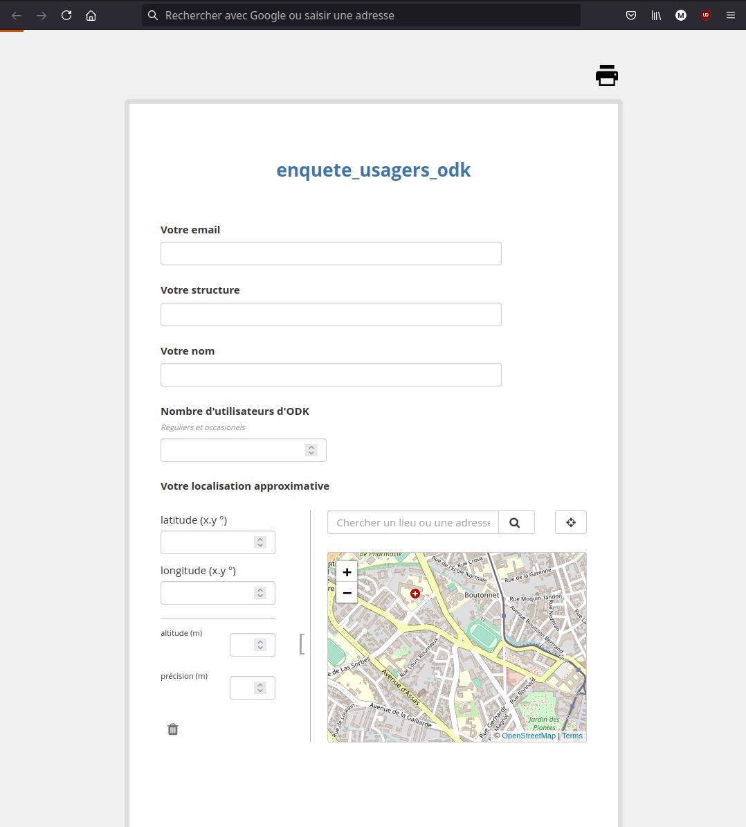 Enketo : formulaire d'enquête sur les usagers d'ODK