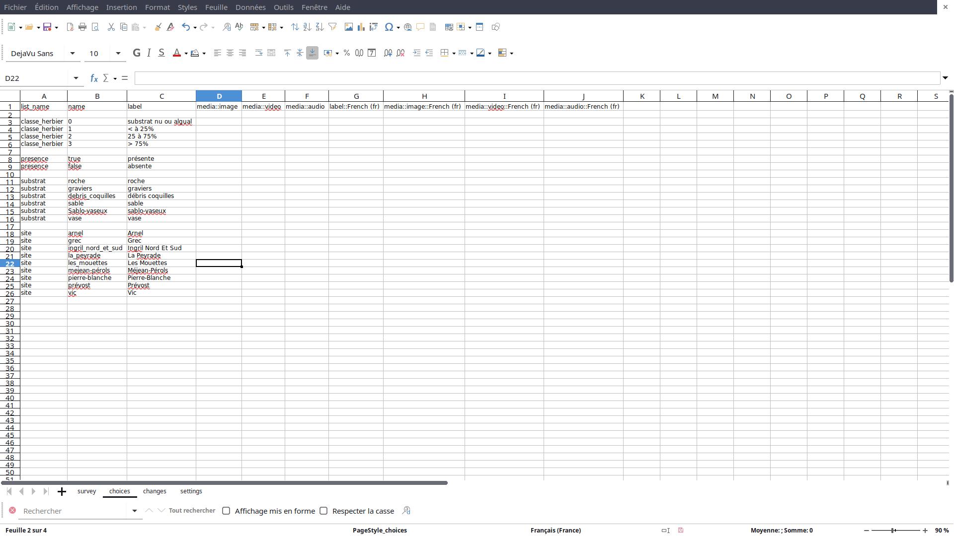 XLS-Form : feuille de calcul choices