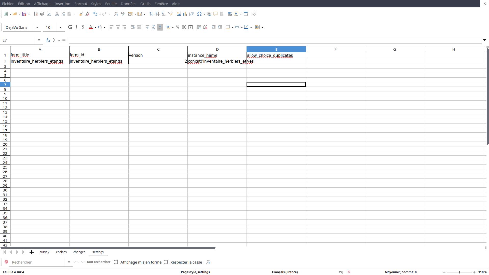 XLS-Form : feuille de calcul settings