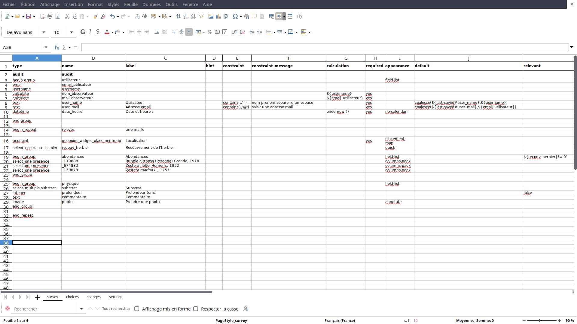 XLS-Form : feuille de calcul survey
