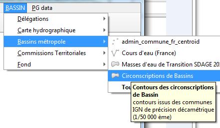 menu déroulant socle de couches de données