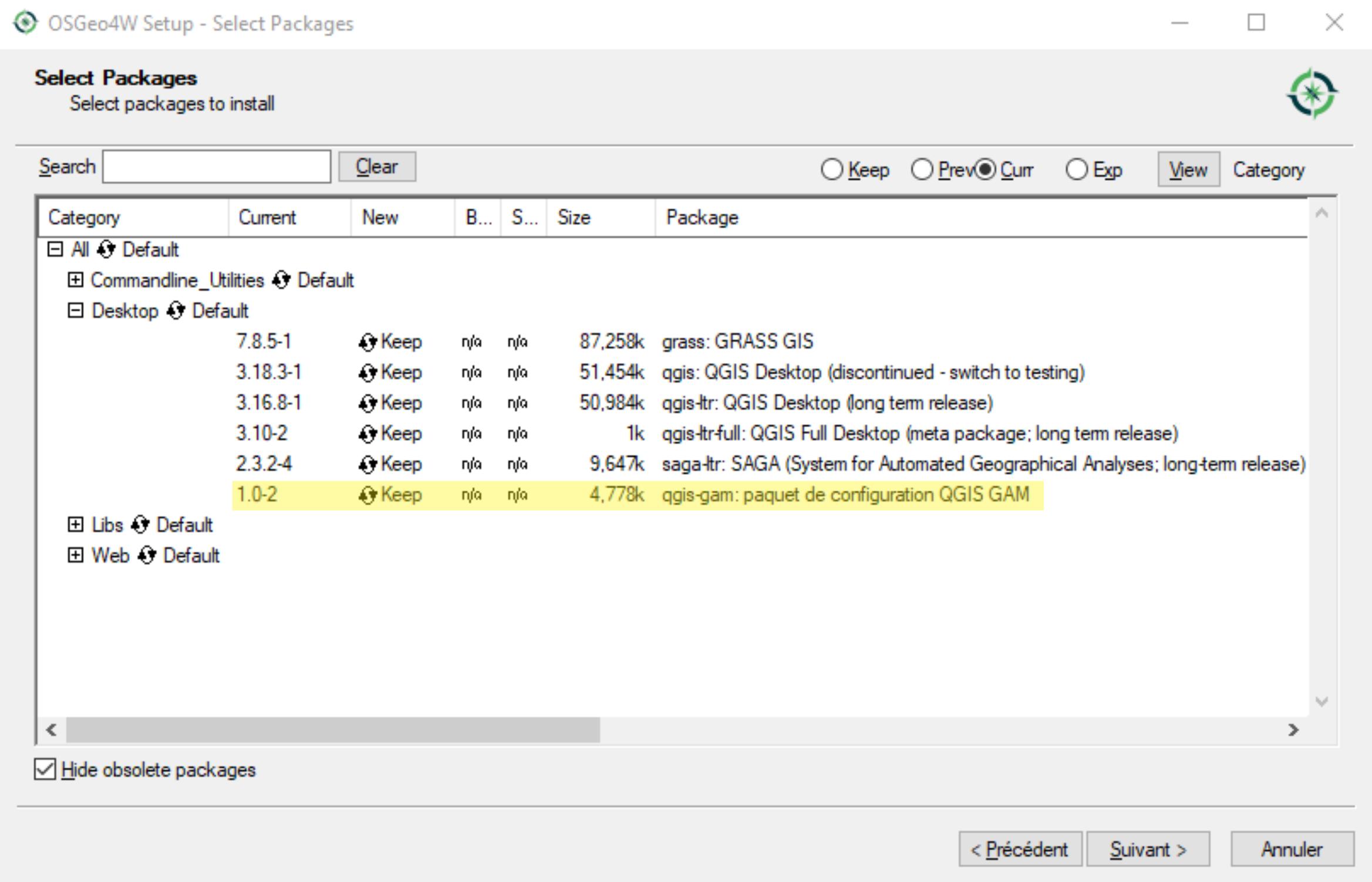 OSGEO4W GUI avec paquet de personnaliszation