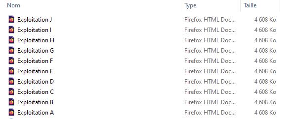 Fichiers par exploitation