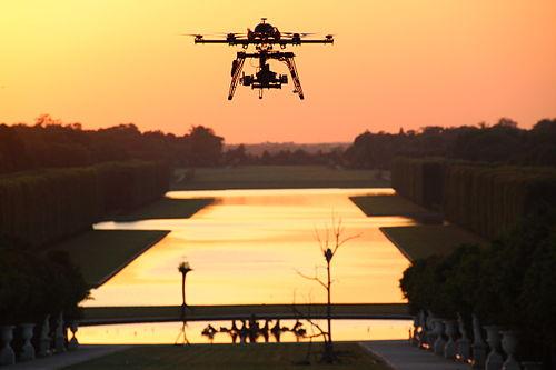 Drone à versaiiles : coucher de soleil