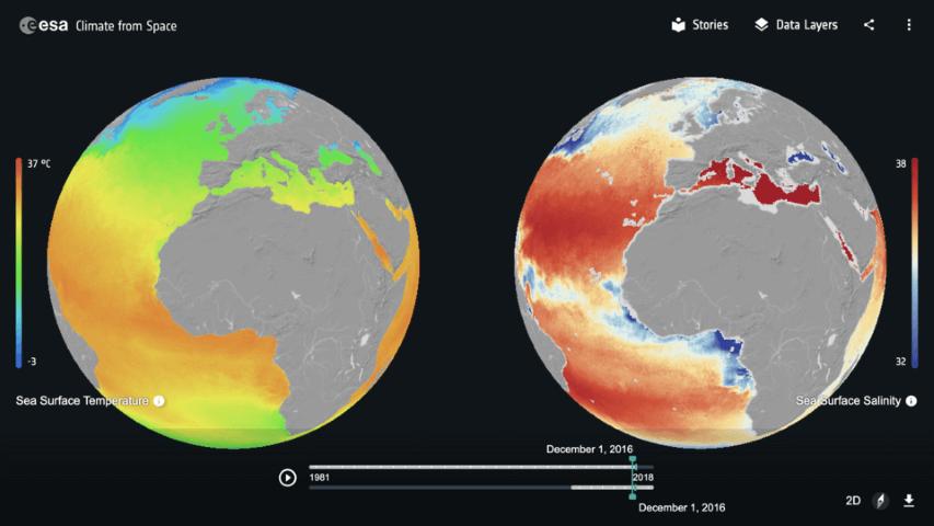 ESA globes changement climatique