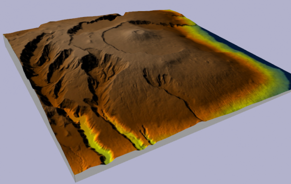 Visualisation 3D (WebGL) du Piton de la Fournaise