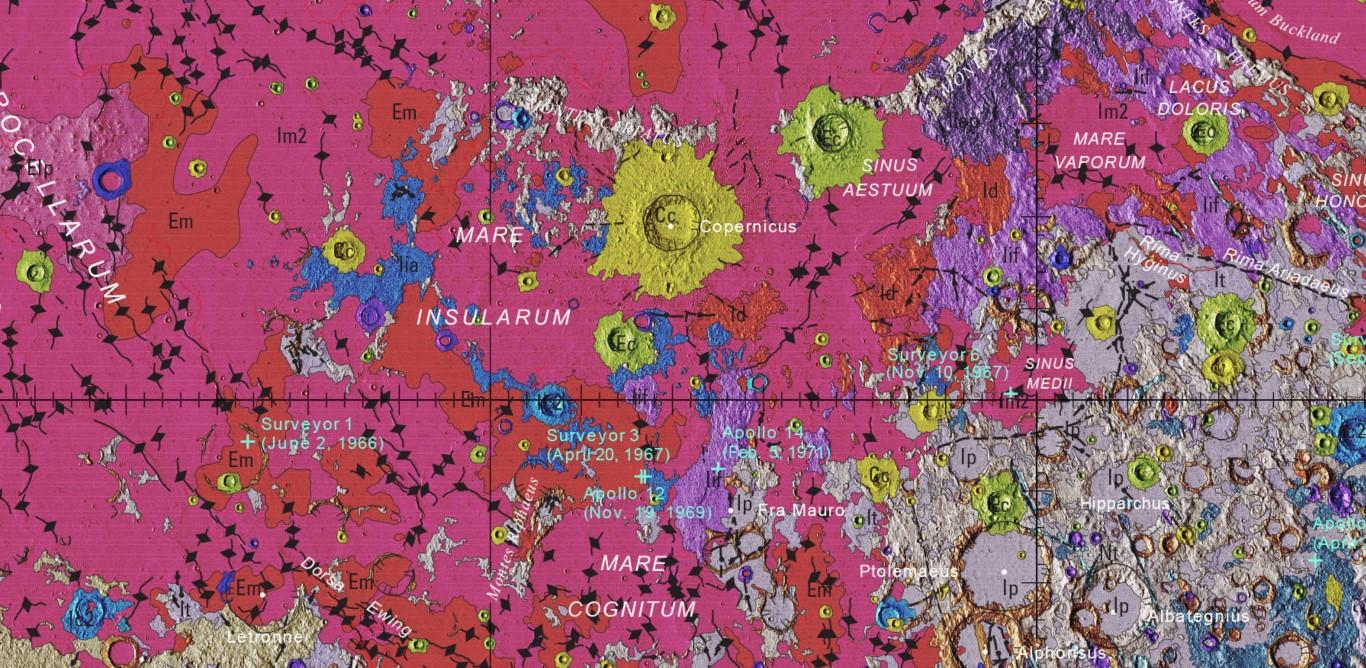 Extrait carte géologique de la Lune