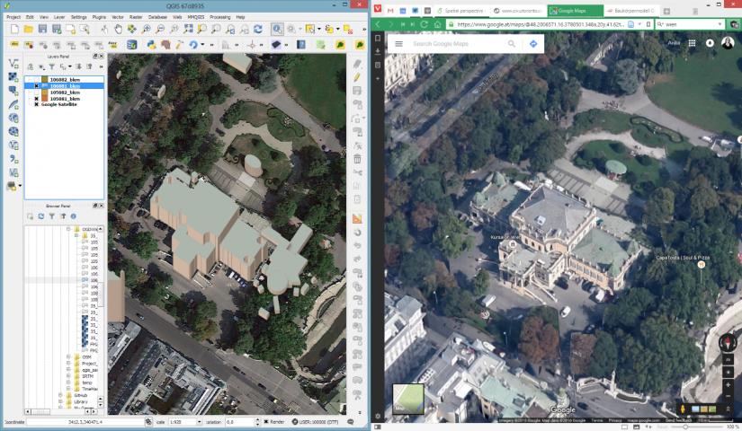 Comparaison QGIS 2.5D et Google Maps
