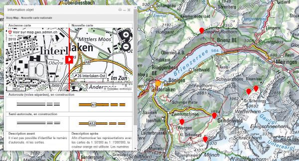 Visualisation des changements des cartes nationales de swisstopo