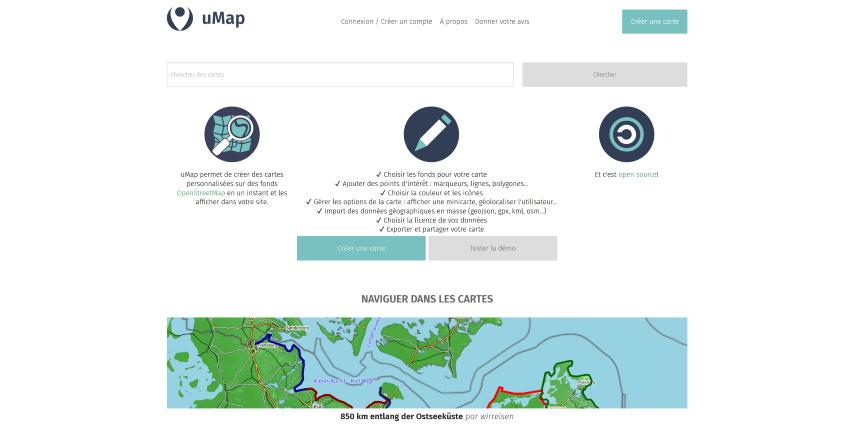 Page d'accueil de uMap