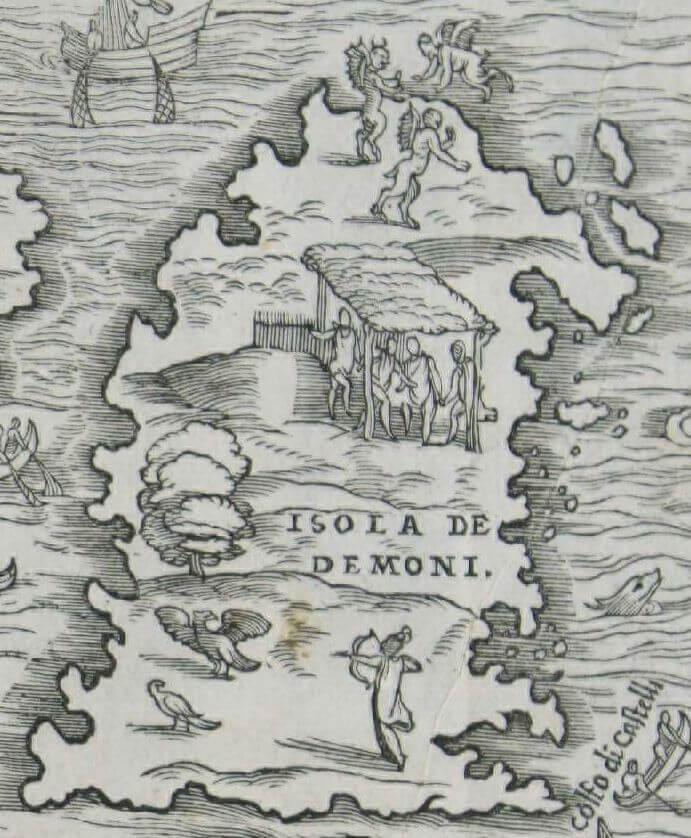 Carte Ramusio - Zoom sur l'île aux Démons