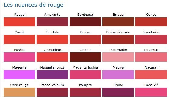 couleurs rouge