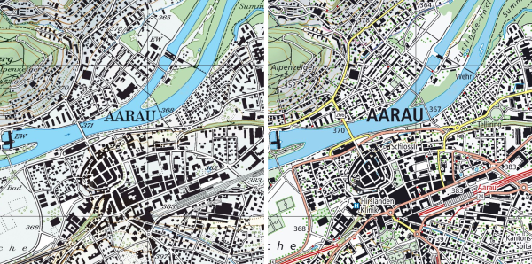 Ancienne et nouvelle version de la carte nationale 1:25'000