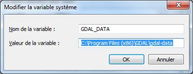 PATH Windows : dossier des données GDAL