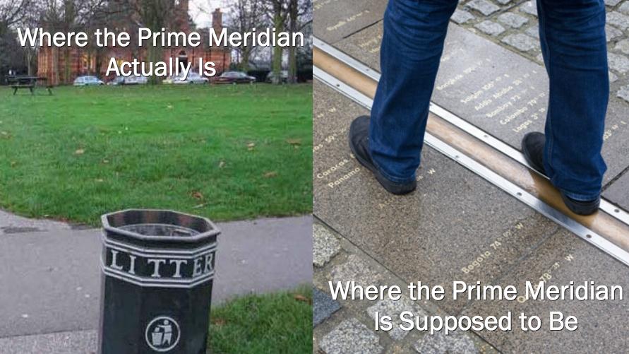 emplacements officiel et réel du méridien de Greenwich