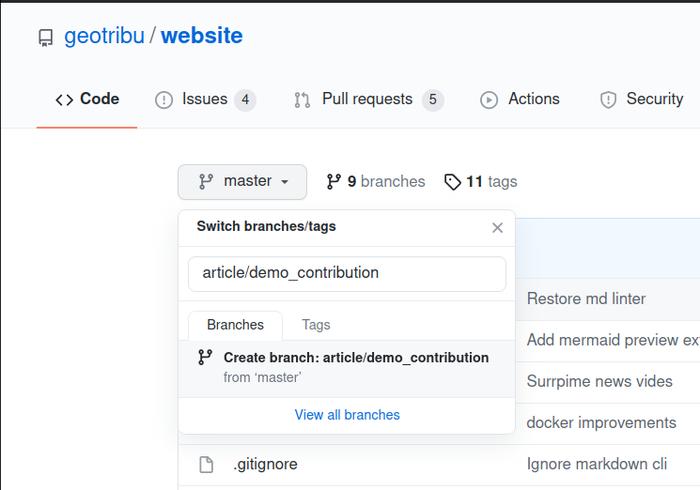 Github - New branch
