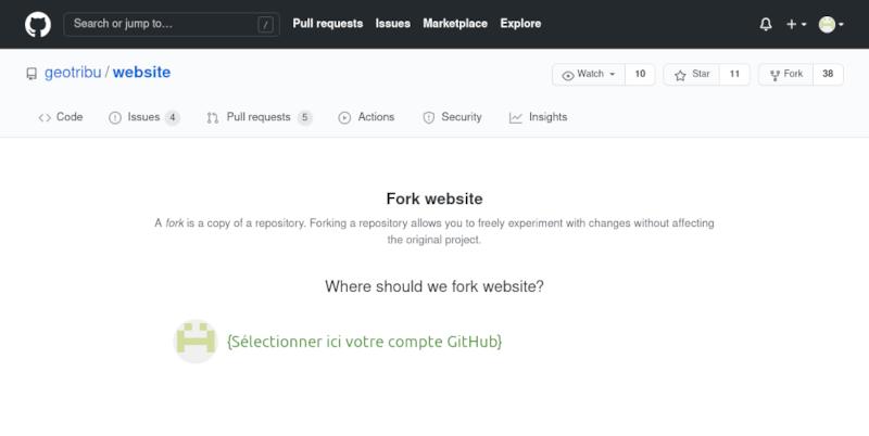GitHub fork repository