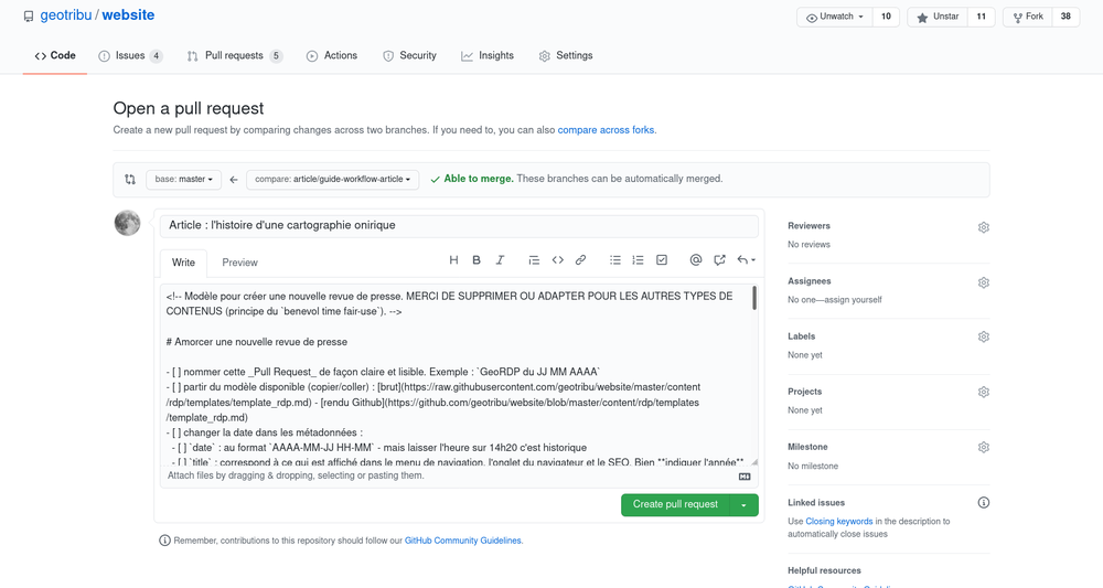 GitHub Pull Request form