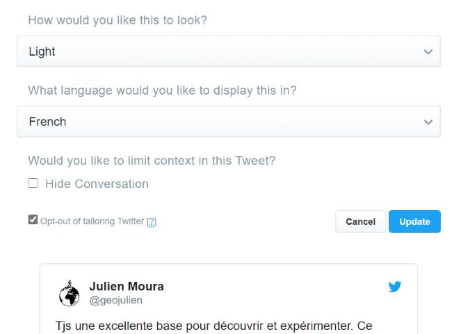 Personnaliser l'intégration du tweet