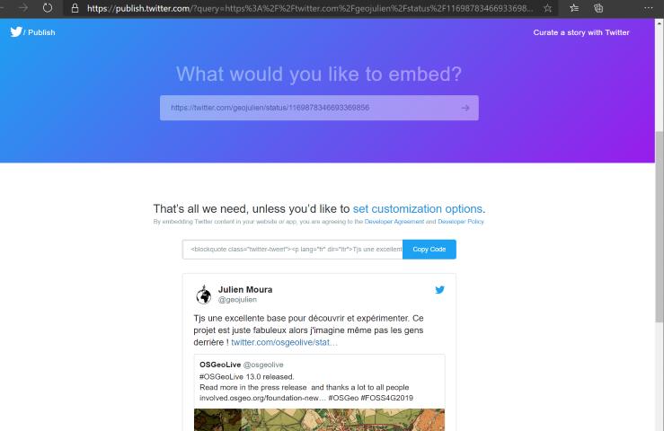 Outil de publication des tweets dans des sites tiers
