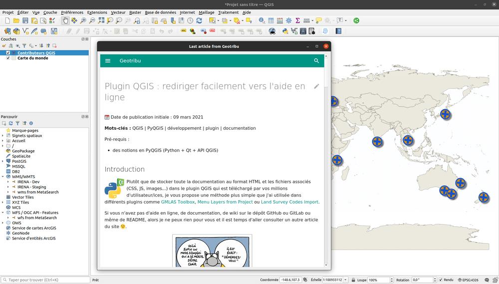 QTribu - Dernier article affiché dans le navigateur intégré de QGIS