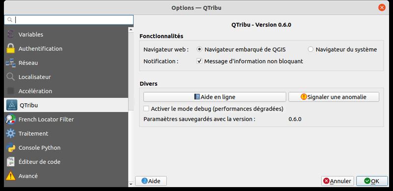 Options du plugin QTribu